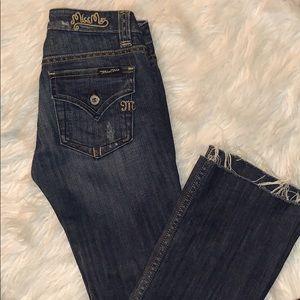 Miss me bootcut distressed hem jeans